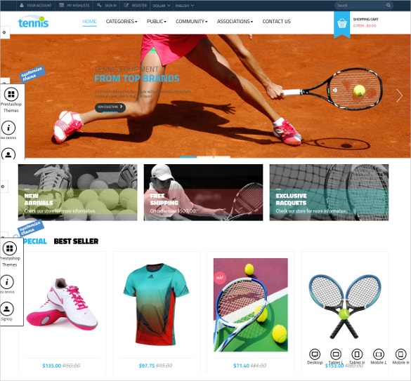 tennis sport prestashop theme
