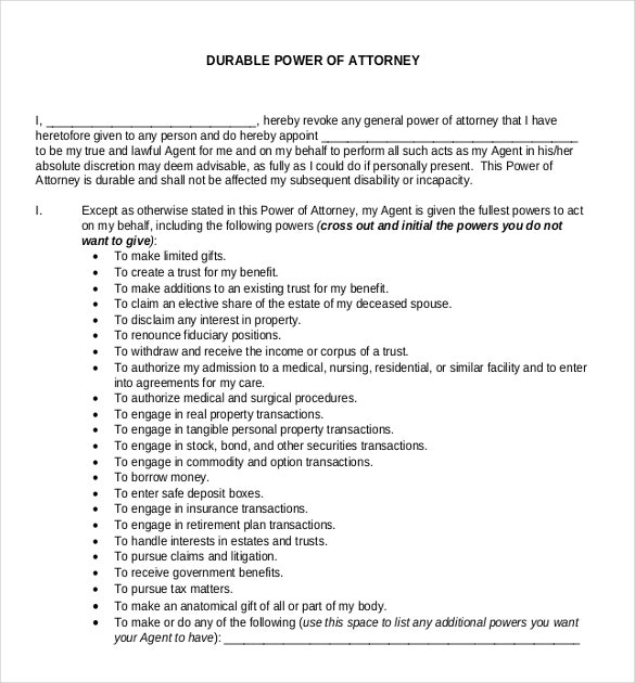 Power Of Attorney Template Word Militaryalicious