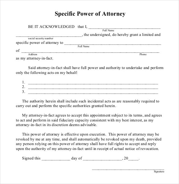 Power Attorney Template  CityEsporaCo