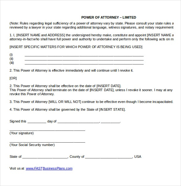 Power of attorney templates 10 free word pdf documents for Special power of attorney template free