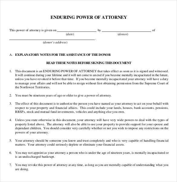 Power Of Attorney Templates – 10+ Free Word, Pdf Documents