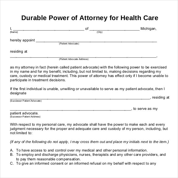 pdf template power of attorney for healthcare