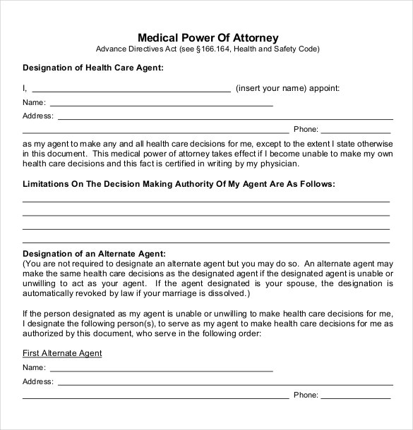 Power Of Attorney Templates   Free Word Pdf Documents
