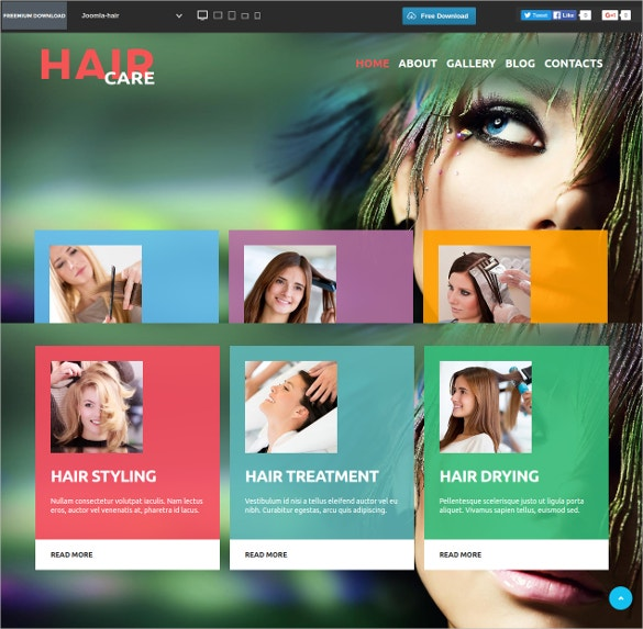 free hair beauty salon joomla theme