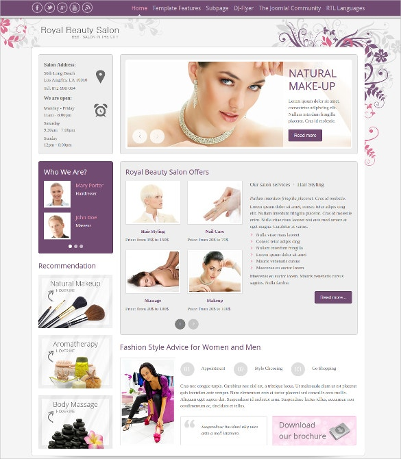 joomla royal beauty salon theme
