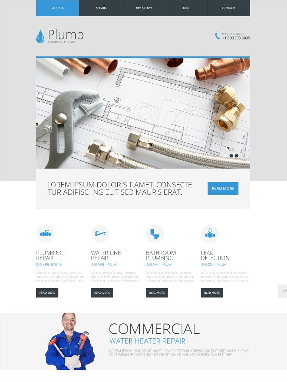 19 amazing plumber website themes templates free premium plumbing company website template 69 free demo download pronofoot35fo Image collections