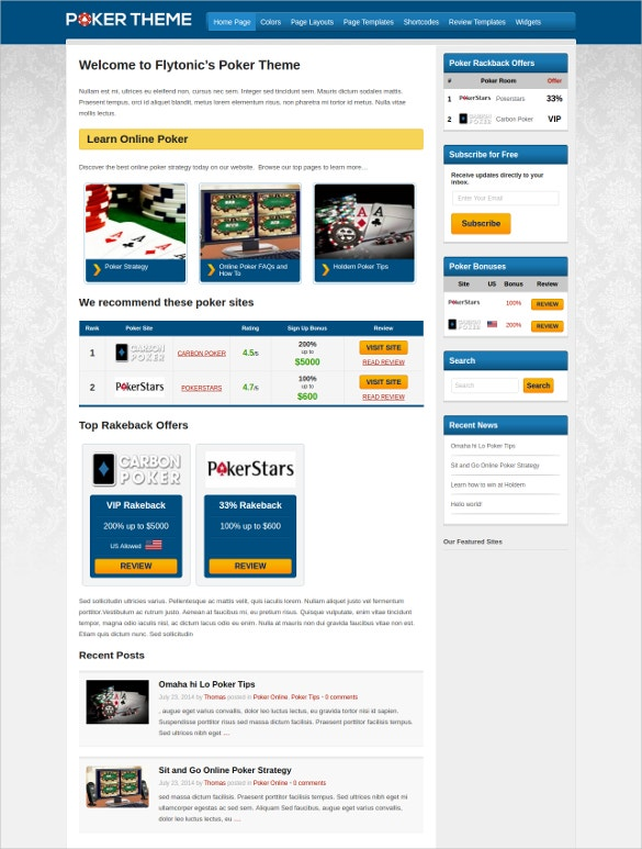 flytonic's poker wordpress theme