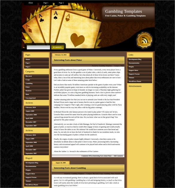 golden poker wordpress theme