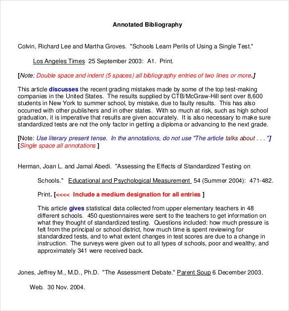 annotated bibliography template for journal article