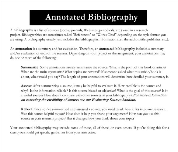 annotated bibliography point form