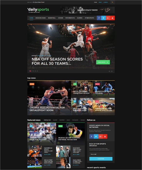 dailysports website html5 template