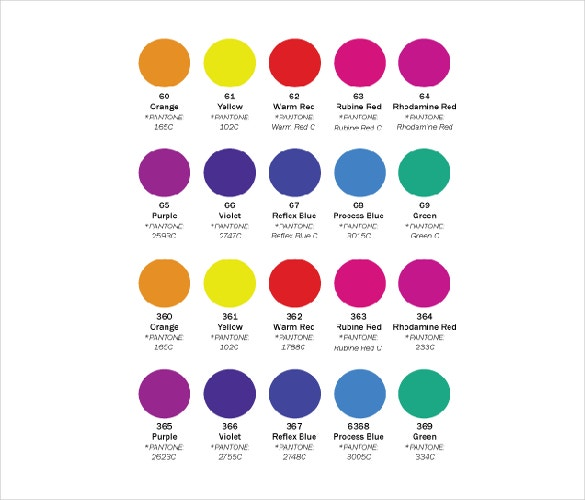 free download ms word conventional screen inks color chart template
