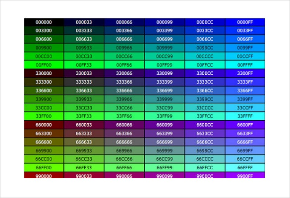 css color code chart ms word format free template