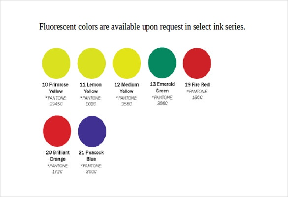 uv curable screen inks color chart free ms word template