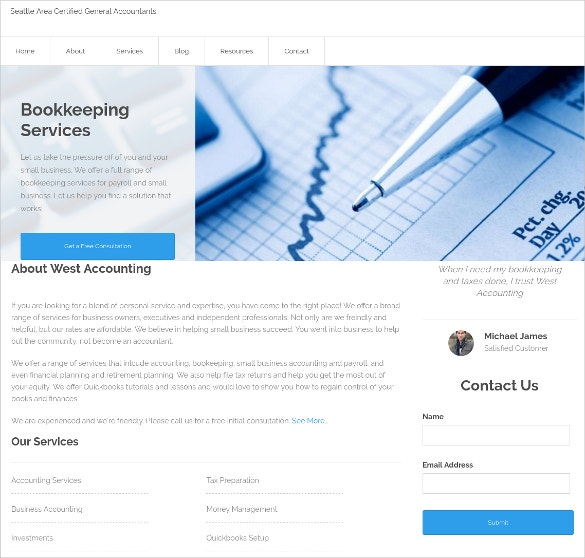 chartered accountant web templates 2018