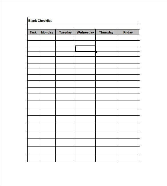 Exceptional Blank Checklist Excel Format Template Download In Blank Checklist Template