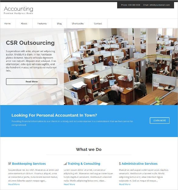 free accounting agencies wordpress website theme