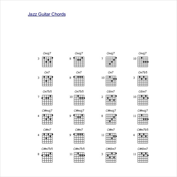 pdf document for jazz guitar chords template