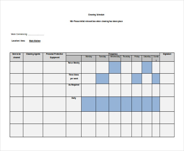 free dwonload ms word format cleaning schedule template