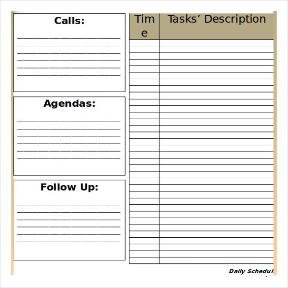 free ms word blank daily schedule template