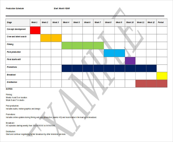 production schedule template free ms word format