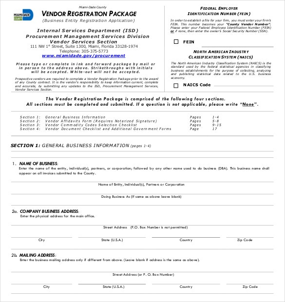 vendor registration application template pdf format free donwload