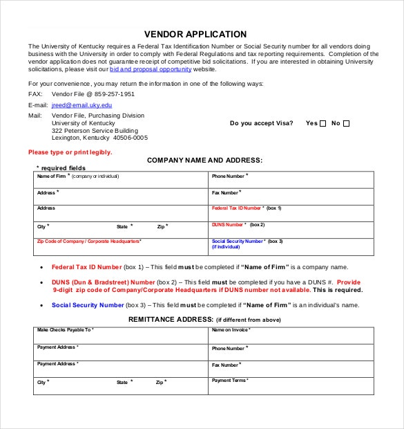 free printable venfor application form pdf format free download