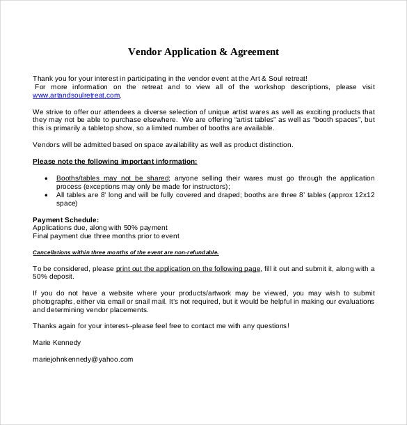 vendor application agreement template free download