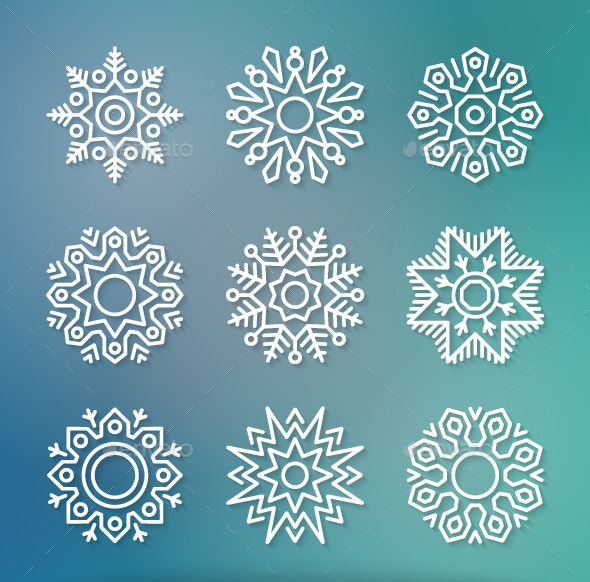16 blue blurred snowflake template download