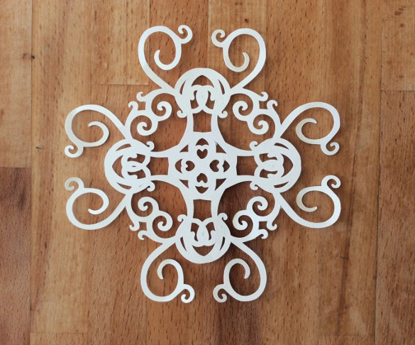 amazing swirl snowflake papercut template download