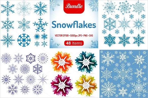 48 amazing christmas snowflake template set download