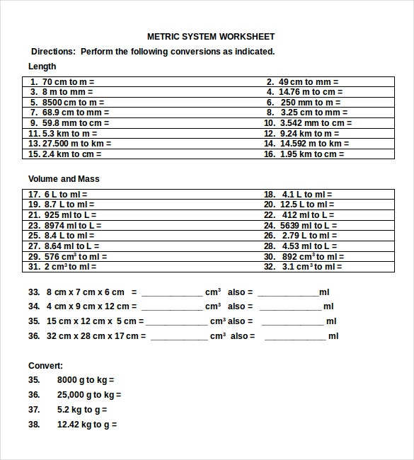 Metric Conversion Chart Templates   Free Word Excel Pdf