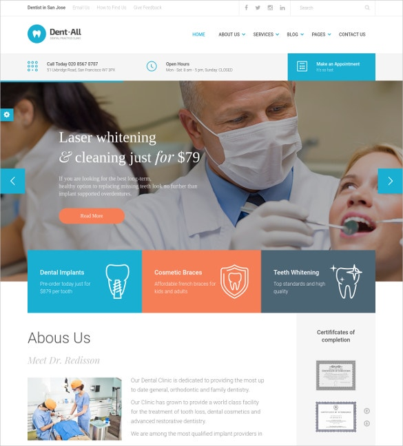dental practice wordpress website theme 49