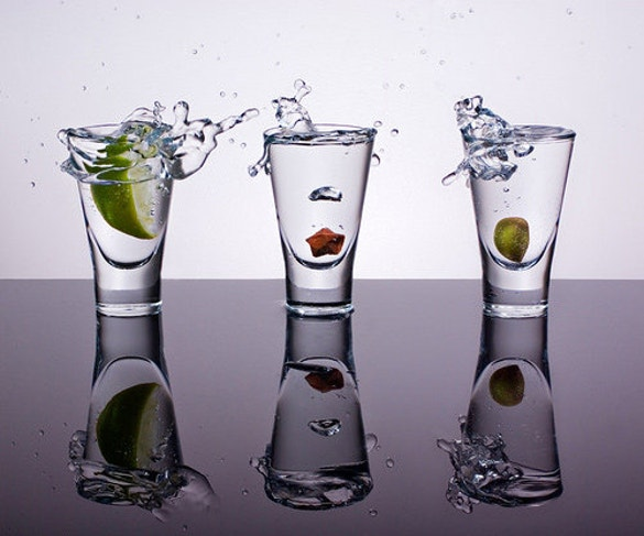 three glasses reflective photography