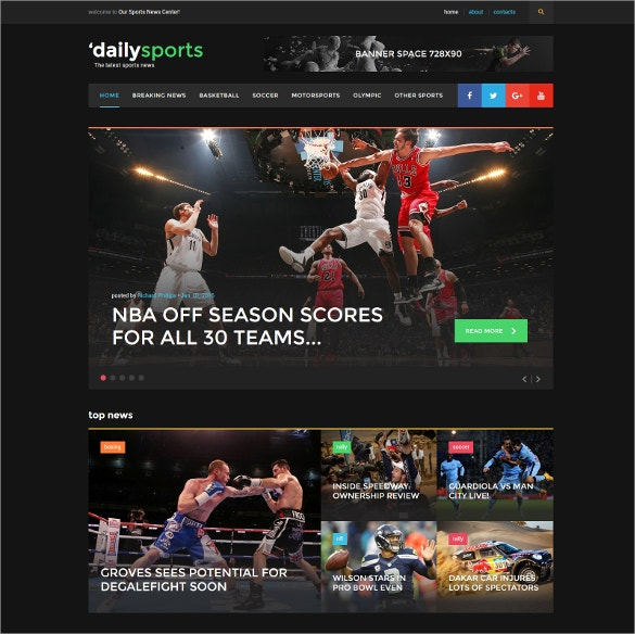dailysports website blog template