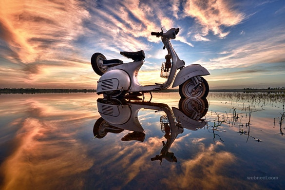 scooter water reflection photography download