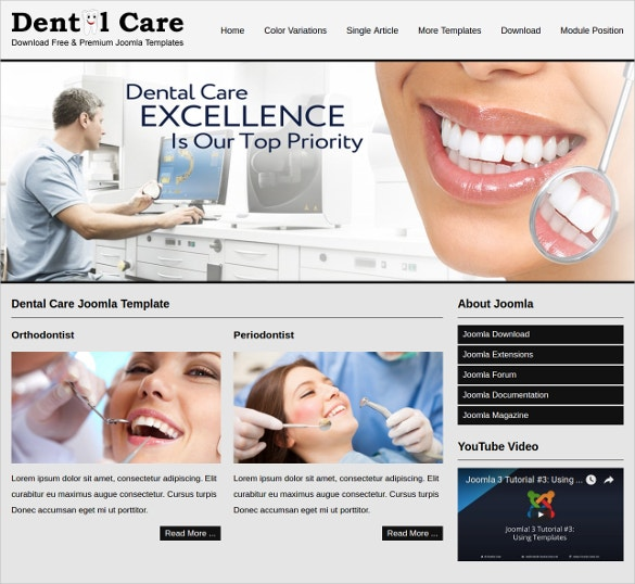 dental care joomla website theme