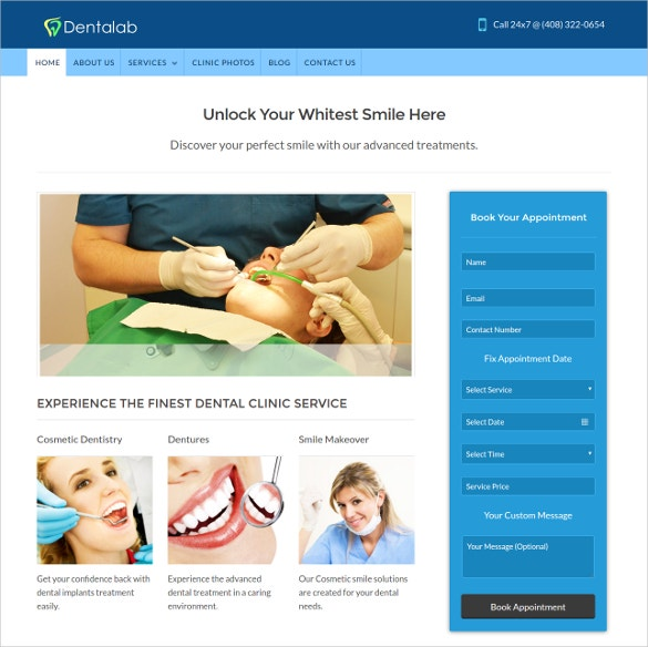 dentist professionals wordpress website template
