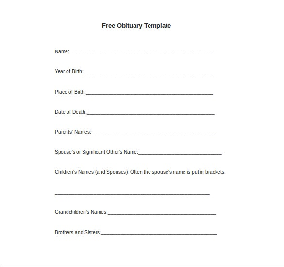 free obituary template download in doc format