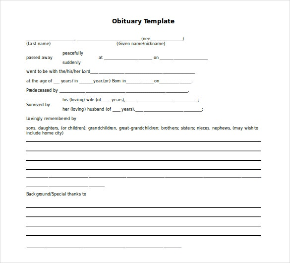 free online obituary template - 10 microsoft word obituary templates free download free