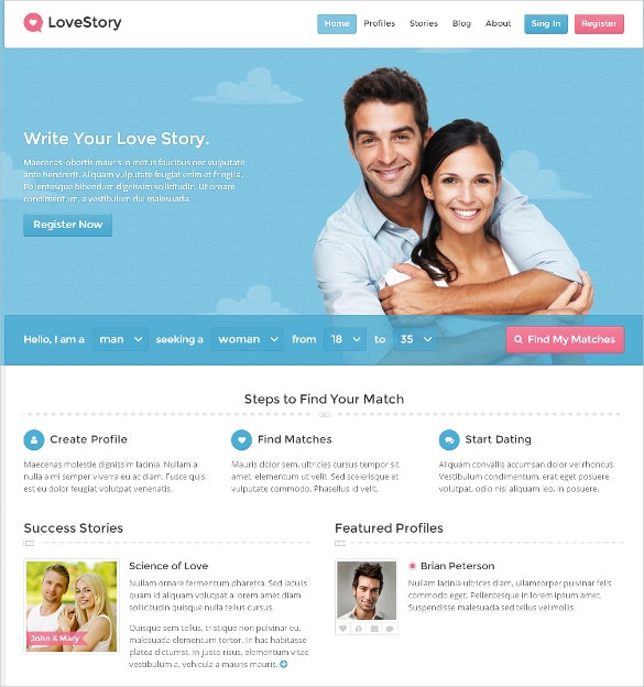 love story dating wordpress website theme 59