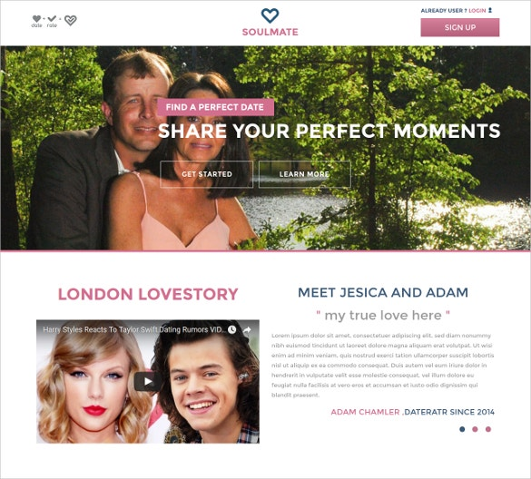 dating bootstrap responsive website template
