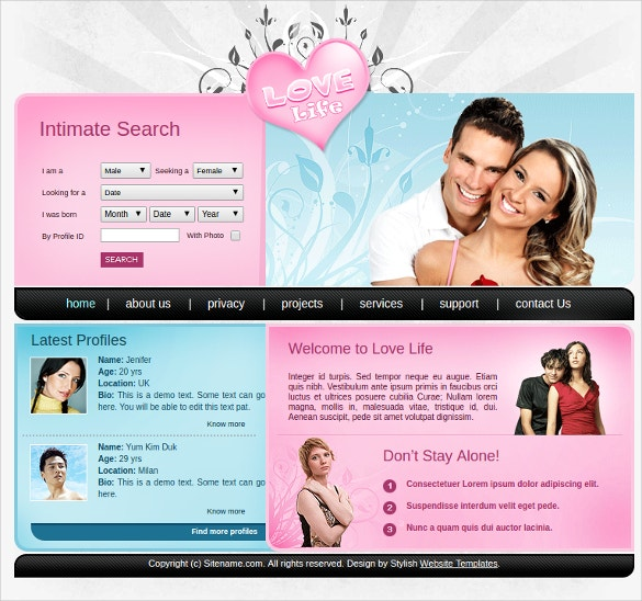 free dating website template