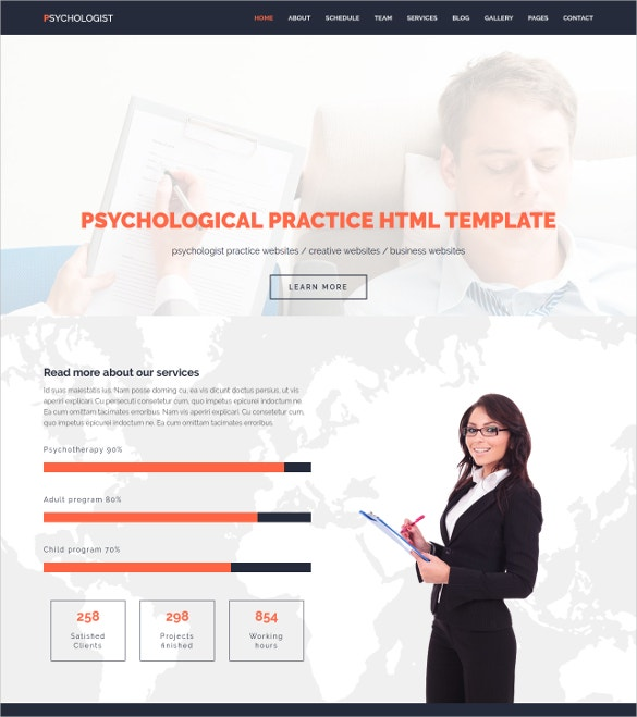 psychological practice html wotrdpress template