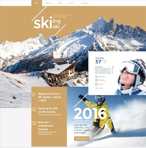 skiing sports website template 69