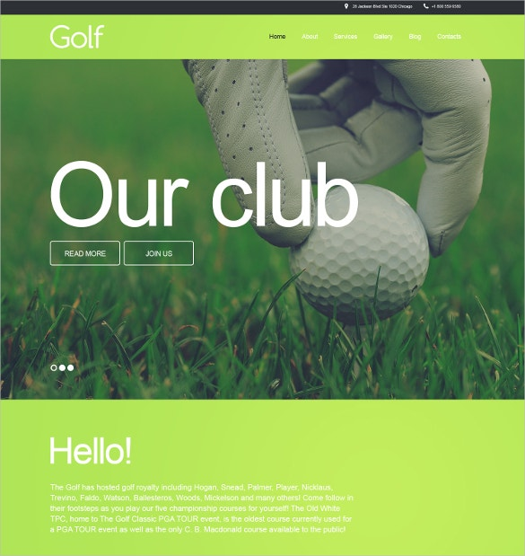 golf sports website muse template 44
