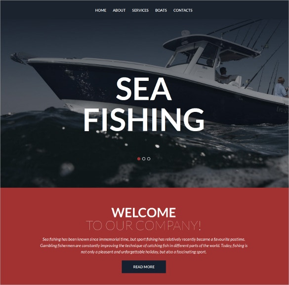 responsive fishing sports moto cms 3 website template 199