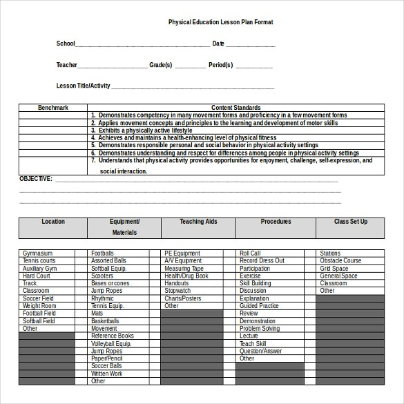 Microsoft Word Lesson Plan Templates Free Premium Templates - Blank lesson plan template for physical education