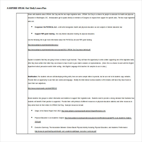 11 Microsoft Word Lesson Plan Templates – Sample Physical Education Lesson Plan Template