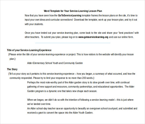 free word format service learning lesson plan template1